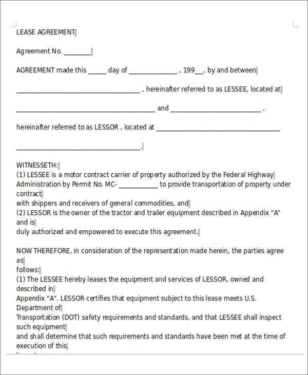 Sample Owner Operator Lease Agreement. Sample Roommate Contract ...