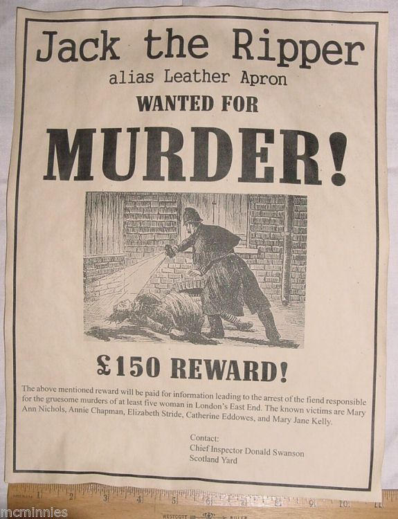 BIG 11 x 14 Pair of Jack the Ripper Posters, Wanted Poster ...