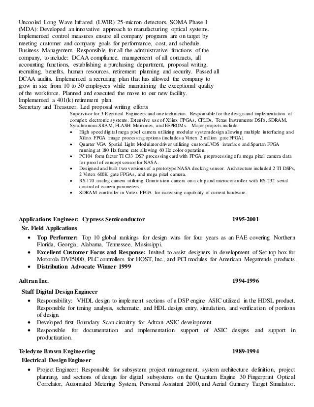 Rf design engineer sample resume