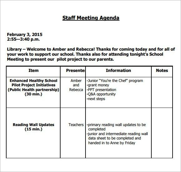 Sample Staff Meeting Agenda - 4+ Documents for PDF