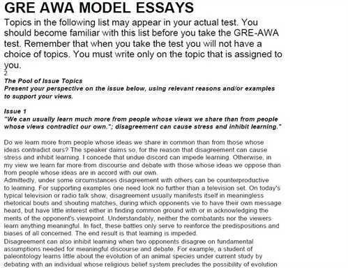example of gre essays