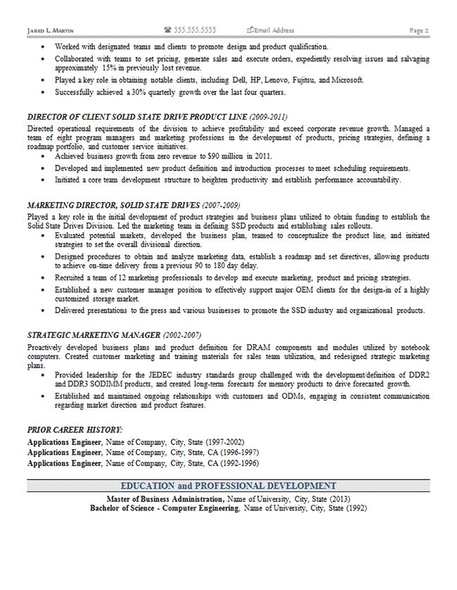 Marketing Operations Resume Example