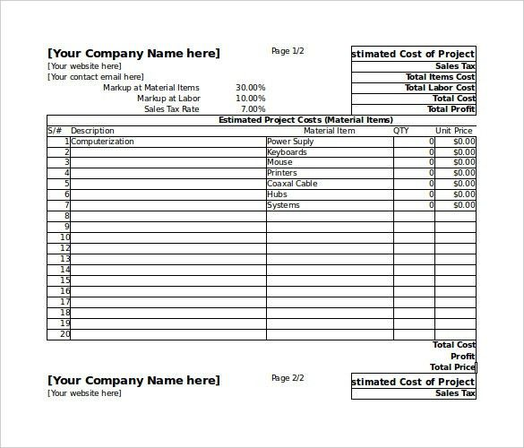 excel price sheet template