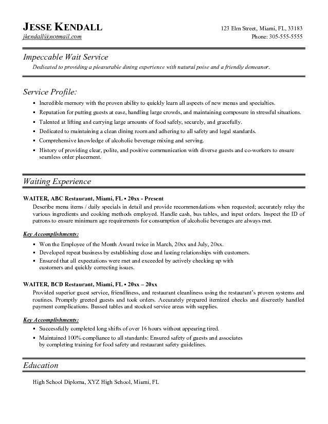 Sample Resume For Server Waitress Free Server Resume Example