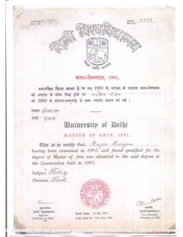 Master of Arts, Delhi University -Degree Certificate