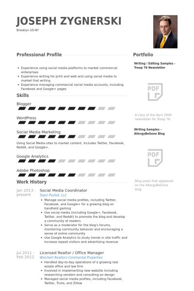 Social Media Coordinator Resume samples - VisualCV resume samples ...