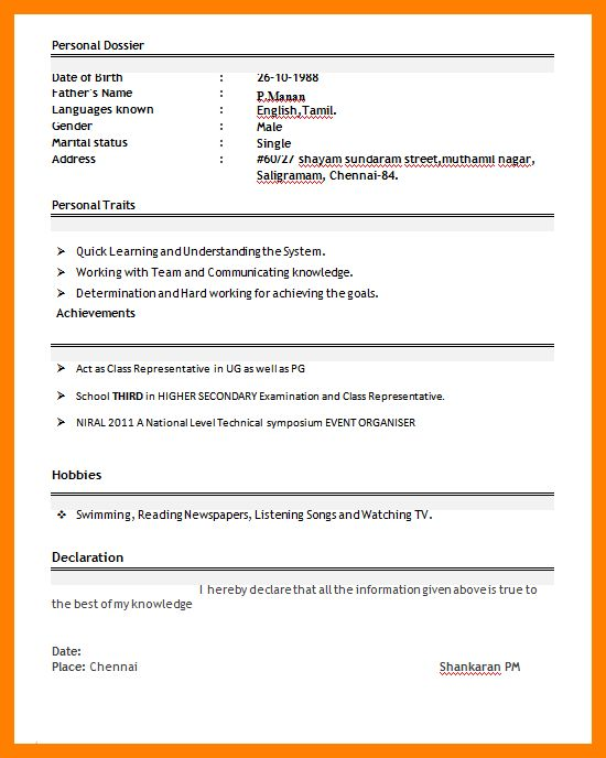6+ teacher resume format for fresher | handy man resume