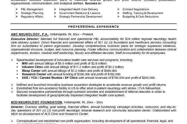 healthcare executive resume samples Sample Executive Resume Format ...