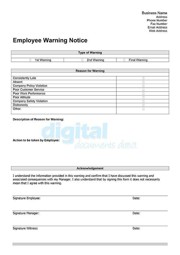 Employee Warning Template | Digital Documents Direct
