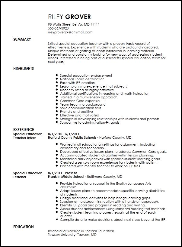 Free Professional Special Education Teacher Resume Template ...
