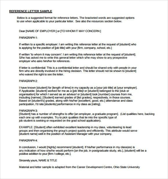 Reference Letter Format - 9+ Download Free Documents in PDF , Word