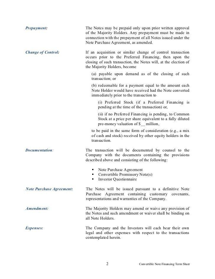 Convertible note financing term sheet