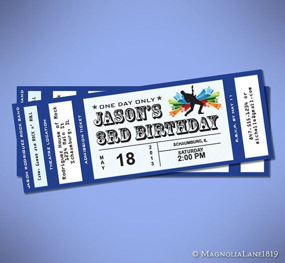 Party Package - Customized Rock Star Concert Ticket Birthday with ...