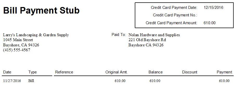 QuickBooks 2012 - Bill Payment Stubs