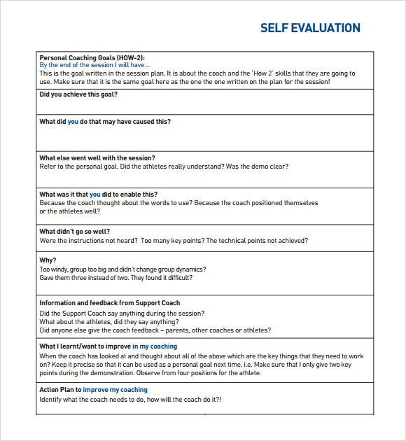 Self Assessment – 6+ Example, Format