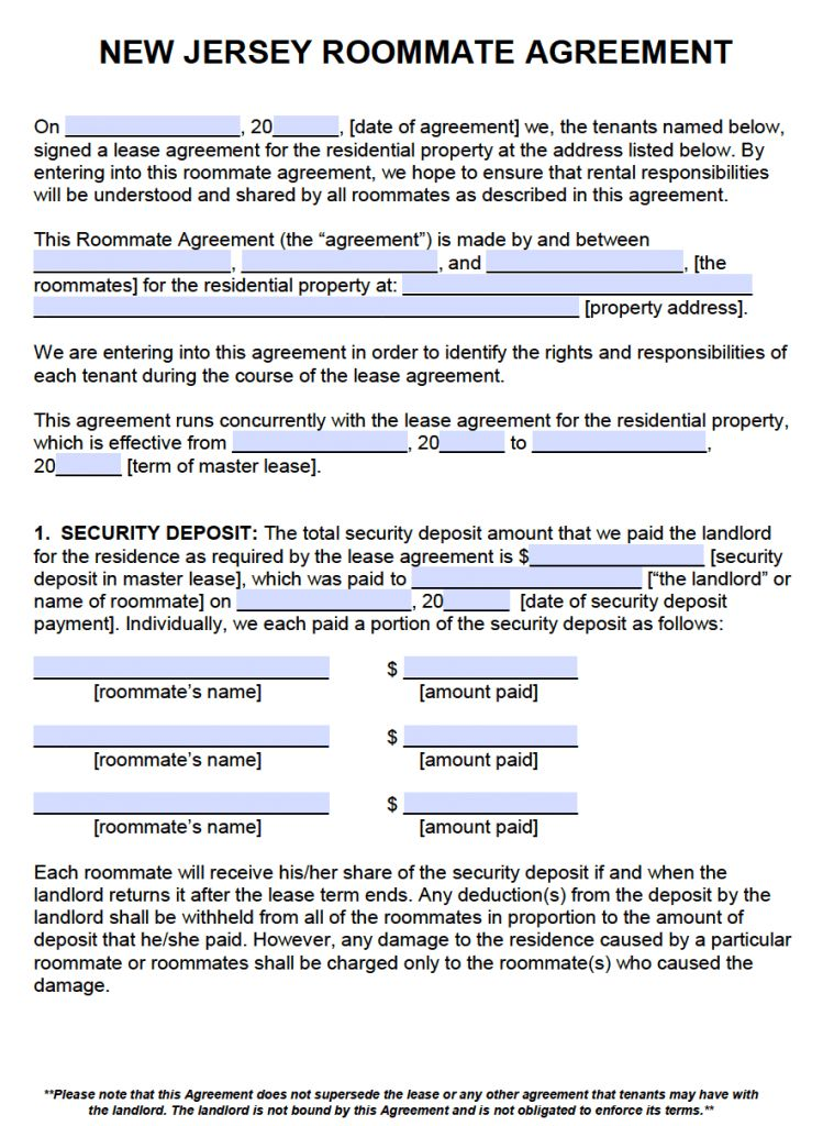 Free New Jersey Roommate Agreement Template – PDF – Word
