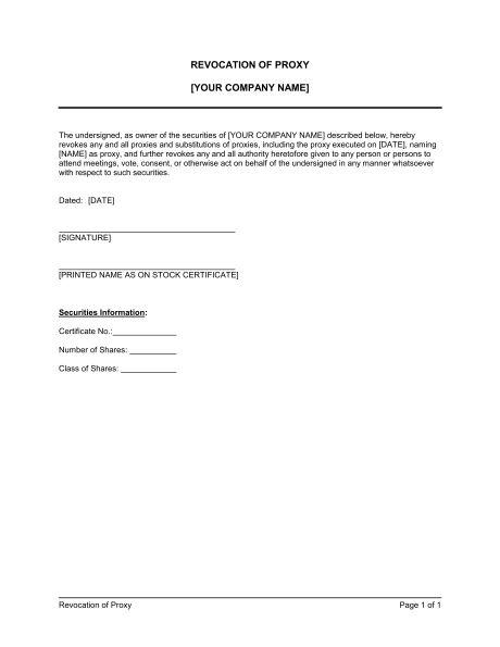Proxy Revocable - Template & Sample Form | Biztree.com