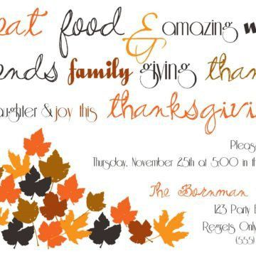 Cute Thanksgiving Dinner Invitation Card Template With A Couple Of ...