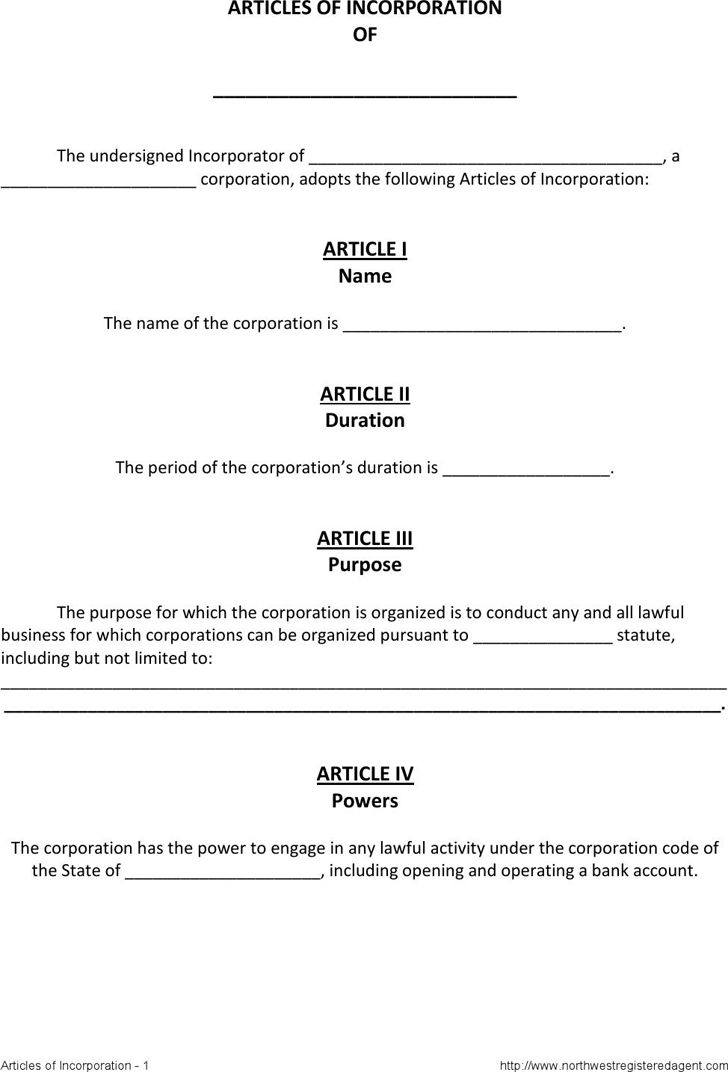 Free Articles of Incorporation Template 1 - FormXls
