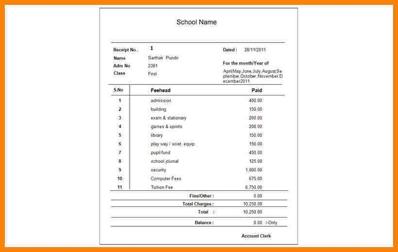 7+ school fees receipt format in word | hr cover letter