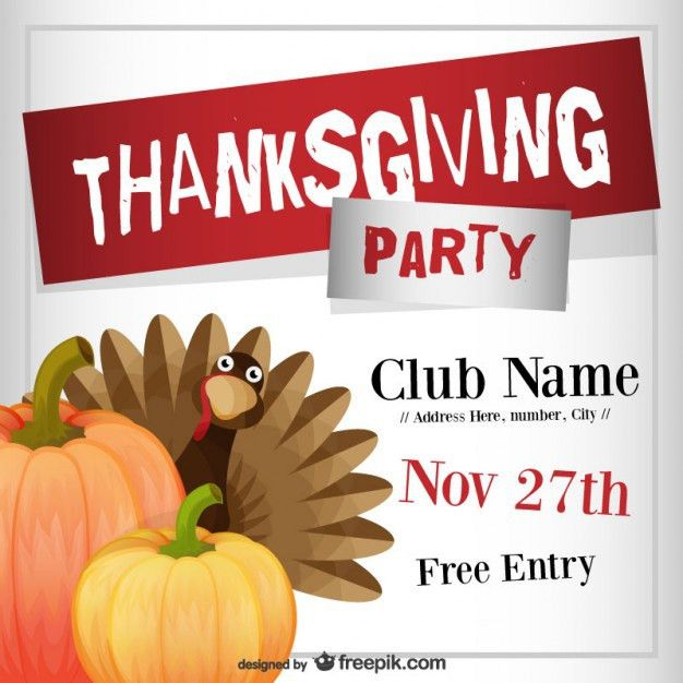 Thanksgiving Party Flyer Template Vector | Free Download  Can Food Drive Flyer Template