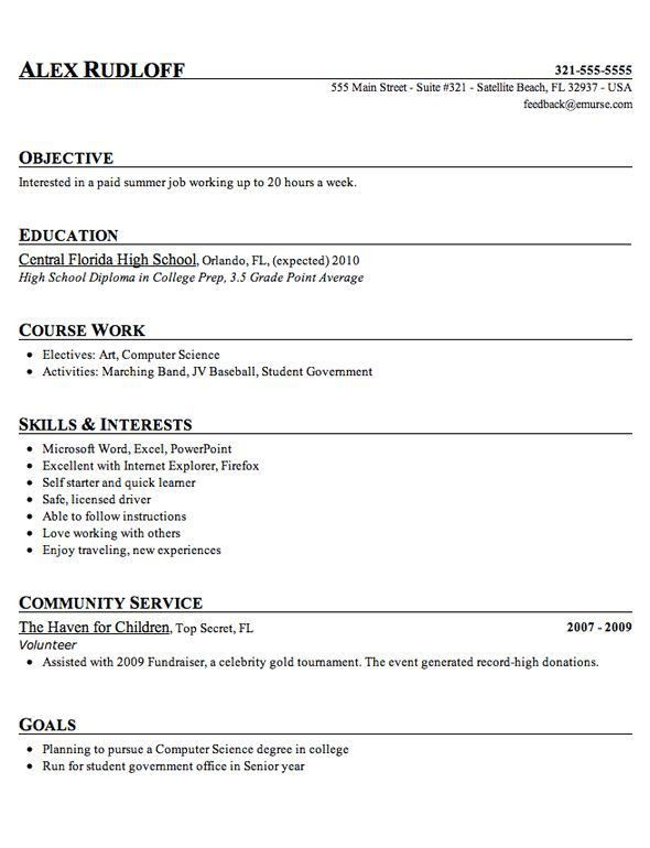Resume Examples For Students. Sample High School Student Resume ...