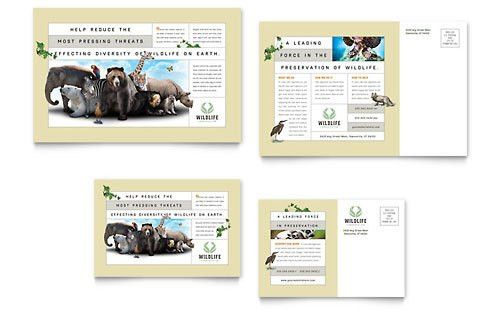 Nature & Wildlife Conservation Postcard Template Design