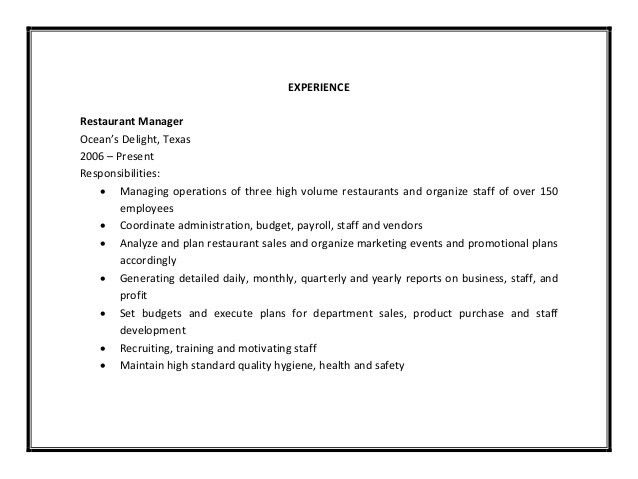 5 job description of restaurant manager. restaurant manager job ...