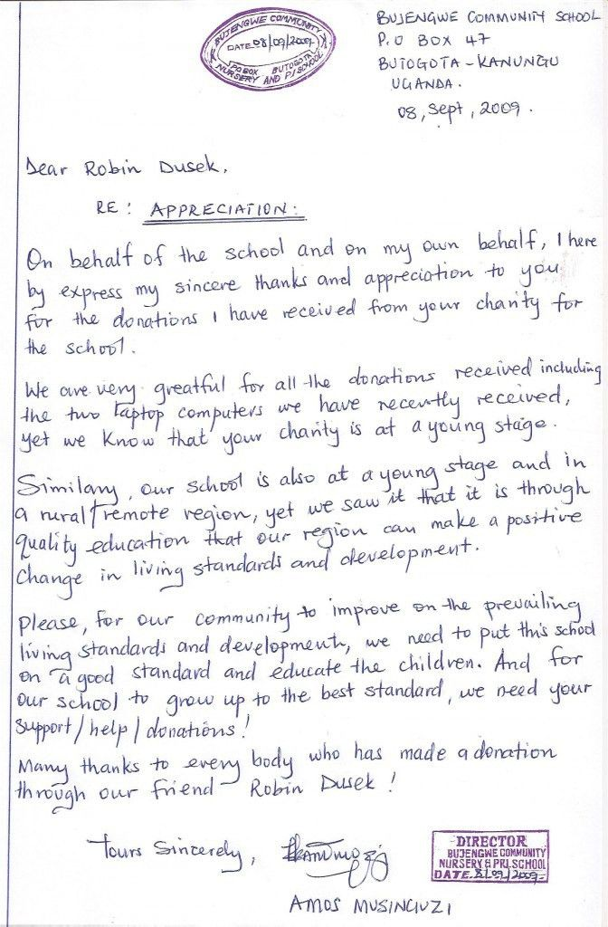 Educating Africa's Children » Thank you letters from Bujengwe ...