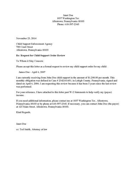 Divorce Source - Child Support Review Request Letter - Payee