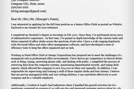 office clerk cover letter office clerk cover letter samples