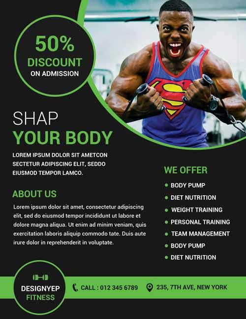 Gym and Fitness Free Flyer PSD Template - http://freepsdflyer.com ...