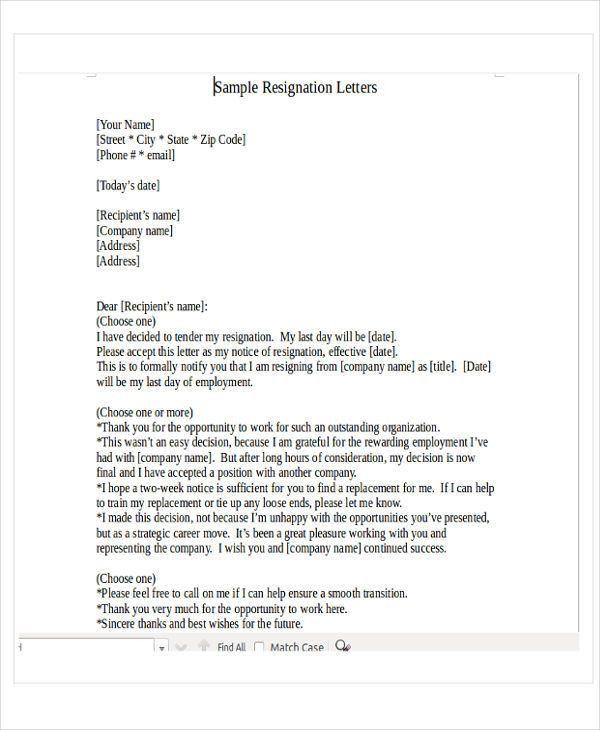 28+ Resignation Letters in PDF   Free & Premium Templates