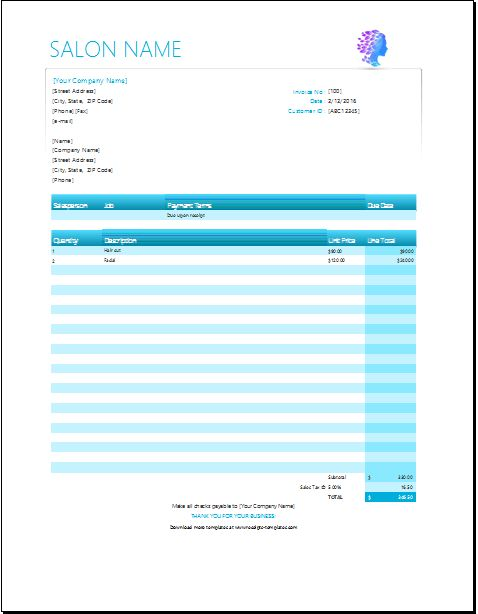 Salon Services Receipt Template for EXCEL | Receipt Templates