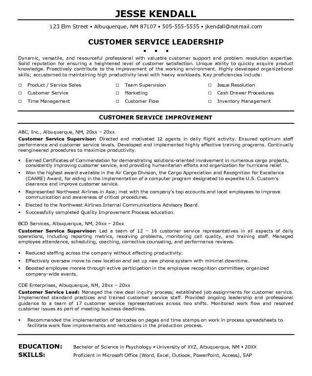 Classy Idea Customer Service Supervisor Resume 3 Customer Service ...