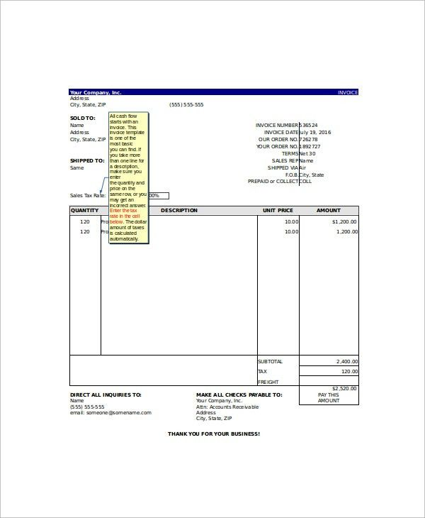 Sample Excel Invoice Template - 9+ Free Documents Download In Excel