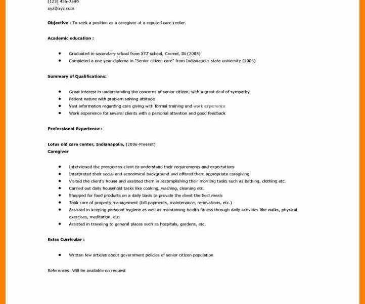 Senior Caregiver Resume. caregiver for elderly resume best free ...