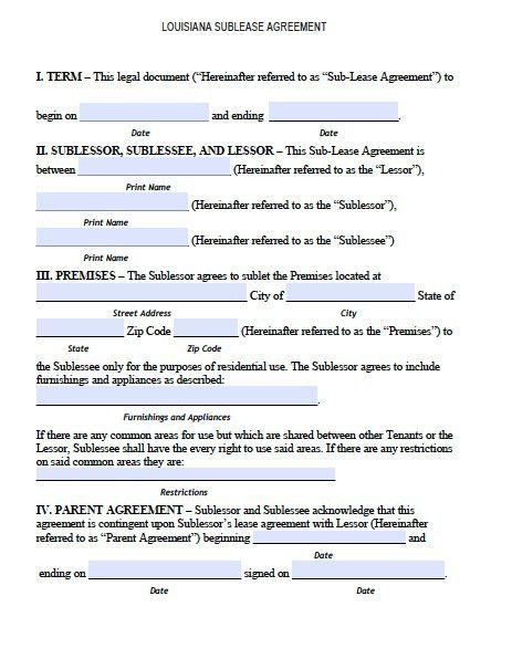 Free Louisiana Sublease Agreement Form – PDF Template