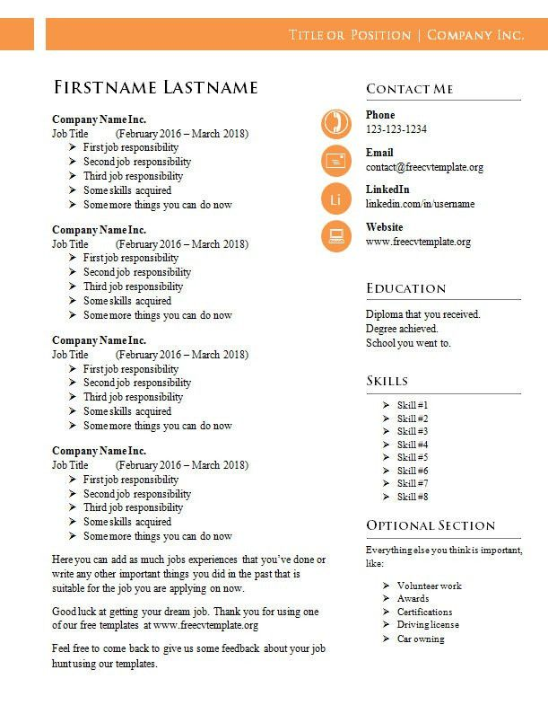 Free CV Templates #987 to 994 – freecvtemplate.org