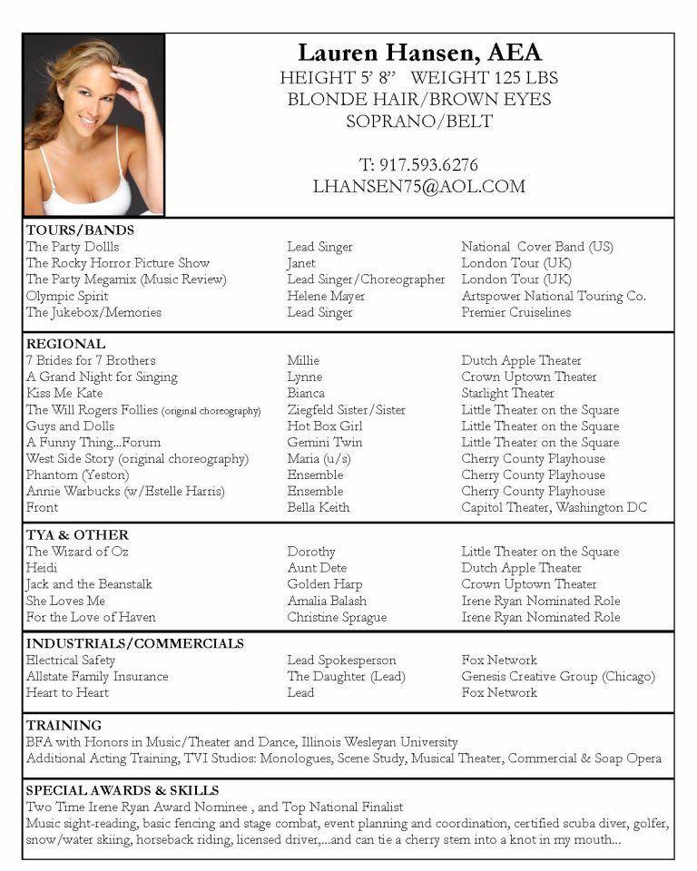 Acting Resume Special Skills - Corpedo.com