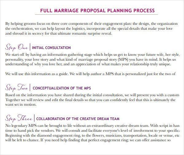 wedding planner proposal sample