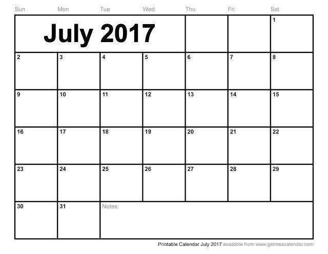 July 2017 Calendar Word | weekly calendar template