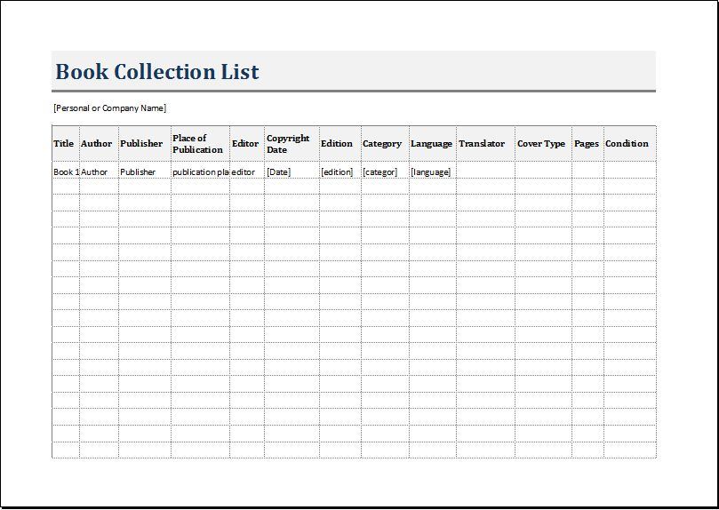 Book Inventory List Template for EXCEL | Word & Excel Templates