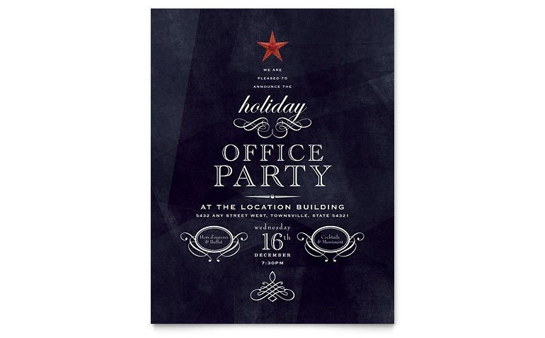 Office Holiday Party Flyer Template - Word & Publisher