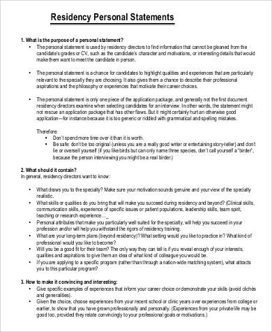 Personal Statement Residency Sample - 7+ Examples in PDF
