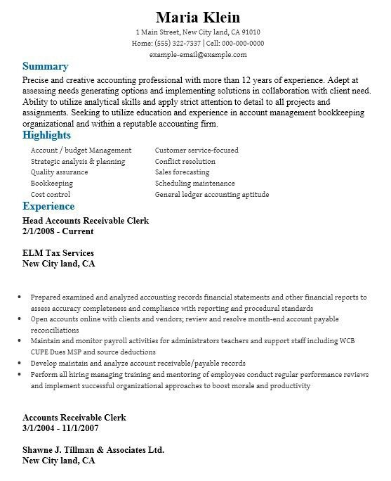 16 Free Sample Account Receivable Clerk Resumes – Sample Resumes 2016
