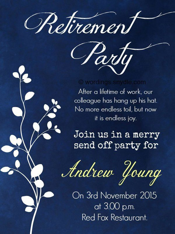 Retirement Party Invitation Wording Ideas and Samples - Wordings ...