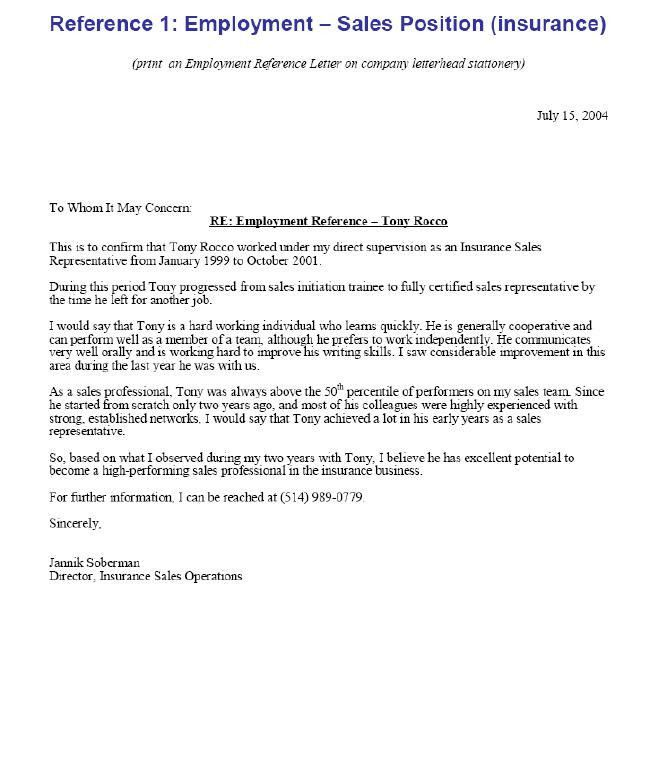 Sample Letter of Reference: Employment Reference Letter