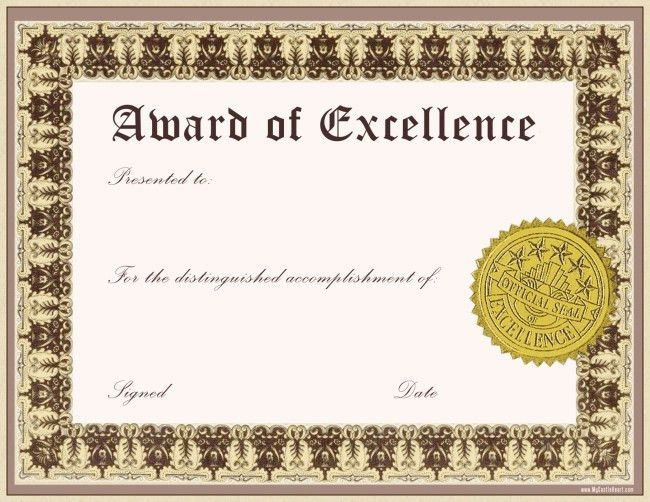 Best Award of Excellence Template Word with Classic Font and Gold ...