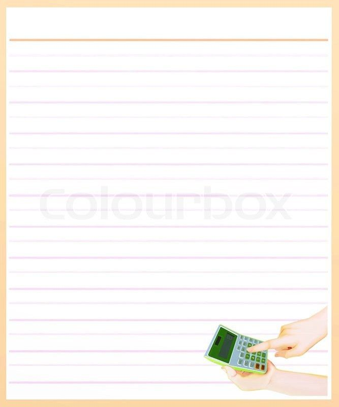Hand with A Calculator on Brown Color Lined Paper | Stock Photo ...